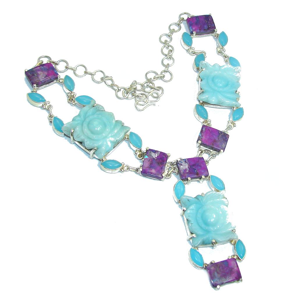 One of the kind Huge Angel Blue Carved Jade Sterling Silver necklace