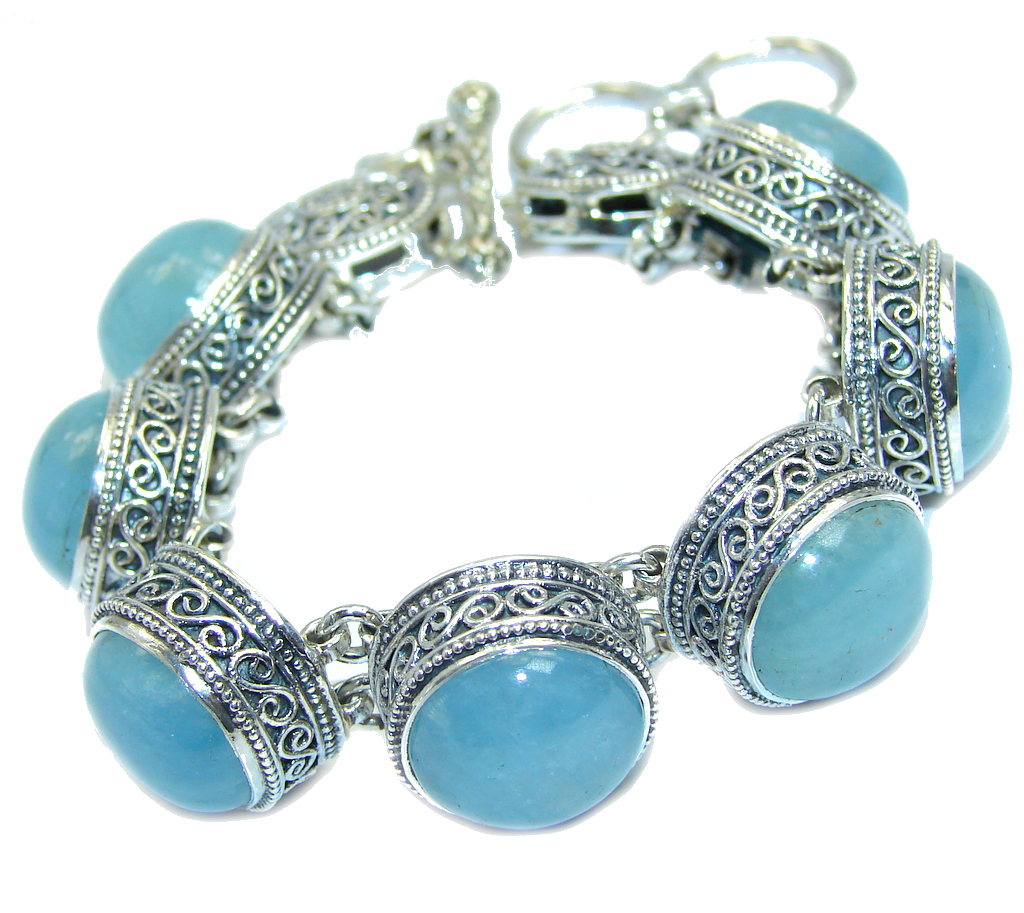 Vintage Design Ocean Beauty AAA Genuine Aquamarine Sterling Silver Bracelet