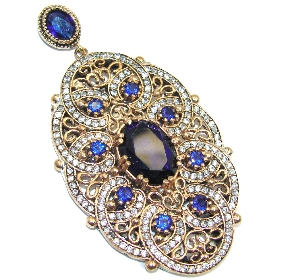 Victorian Style Created Blue Sapphire & White Topaz copper over Sterling Silver Pendant