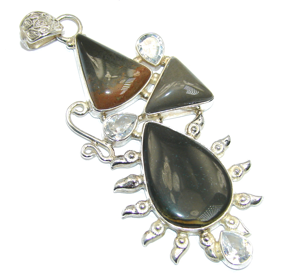 Abstract Design Jasper Sterling Silver Pendant