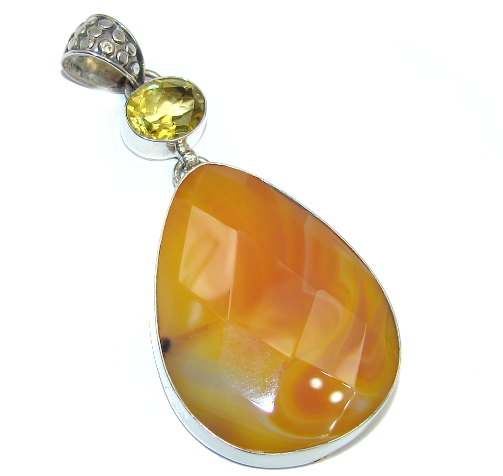 Simple Orange Carnelian Sterling Silver Pendant