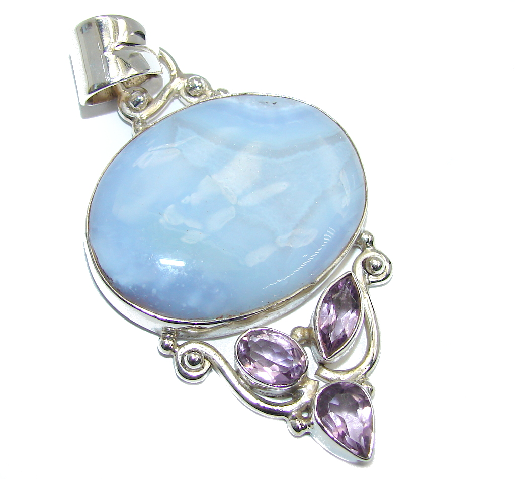 Perfect Light Blue Lace Agate Sterling Silver Pendant