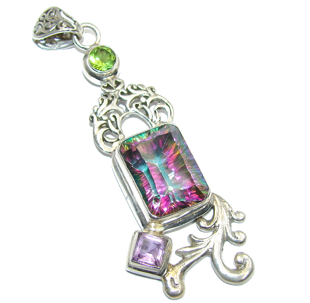 Beautiful Magic Topaz Sterling Silver Pendant