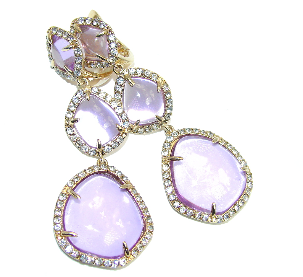 Long Hollywood Style Amethyst & White Topaz Gold Plated Sterling Silver earrings