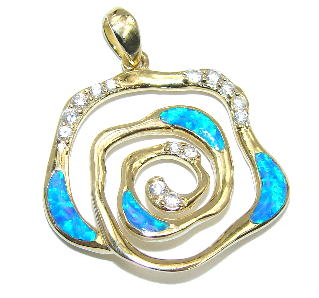 Amazing AAA Japanese Fire Opal Gold plated over Sterling Silver Pendant