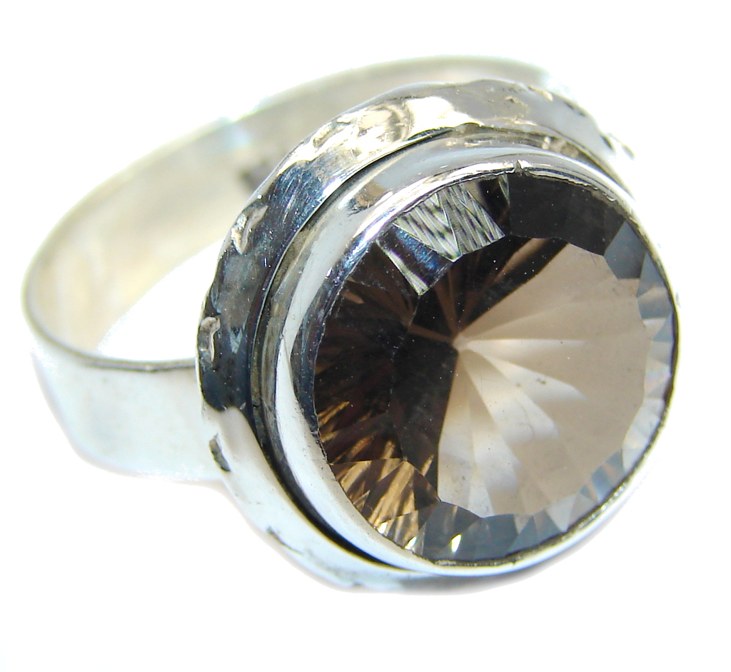 Amazing Genuine Smoky Topaz Sterling Silver ring size 9 1/2