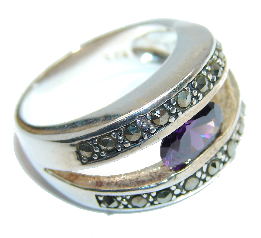 marcassite.com Amazing Amethyst Sterling Silver Ring size 7 1/2