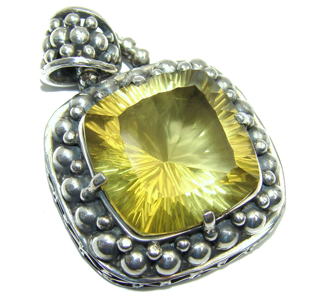 Amazing - Bali Handcrafted - Golden Topaz Sterling Silver Pendant