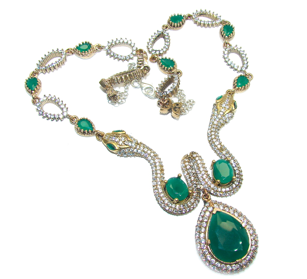 Victorian Style Created Green Emerald & White Topaz Sterling Silver necklace