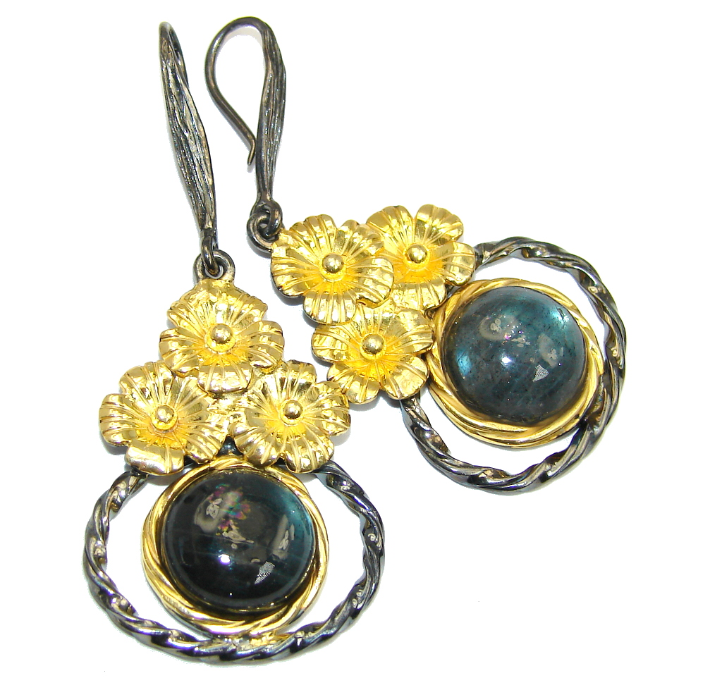 Fashion Beauty AAA Labradorite Gold Rhodium Plated Sterling Silver earrings