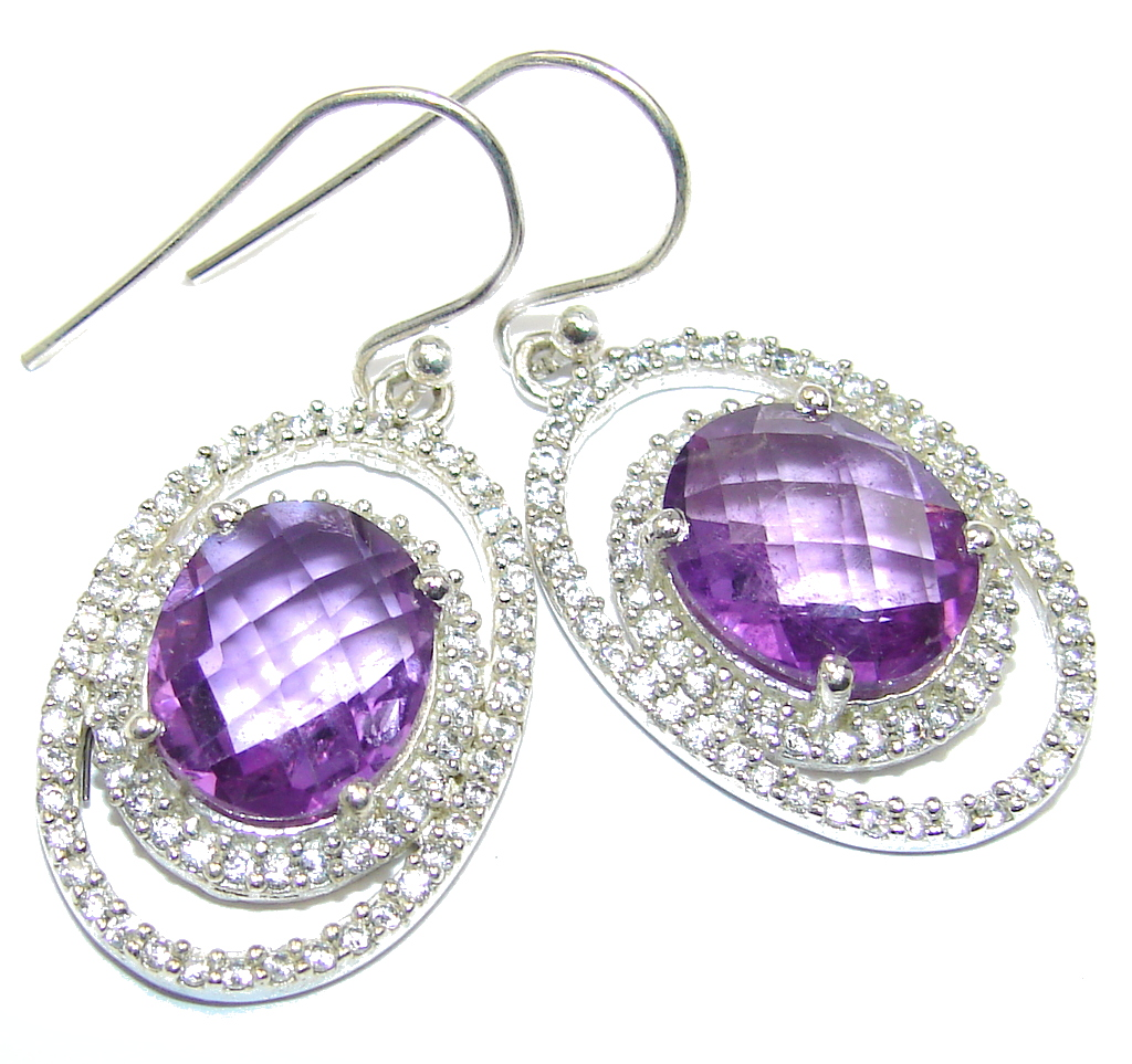 Perfect Purple Amethyst Whiet Topaz Sterling Silver