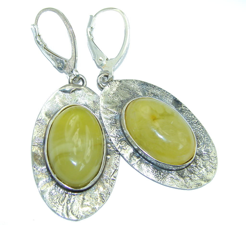 Exclusive AAA Butterscotch Polish Amber Sterling Silver Earrings