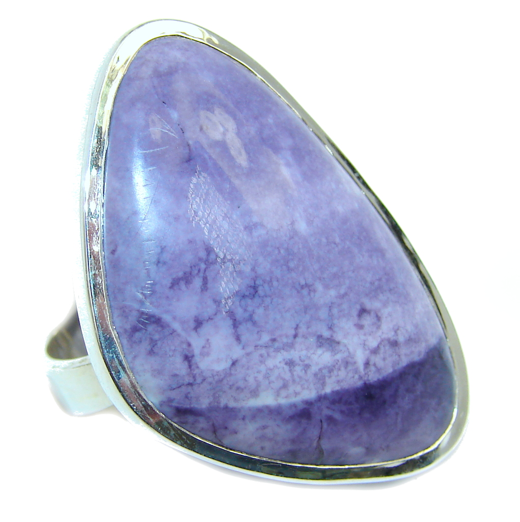 Amazing Purple Tiffany Jasper Sterling Silver ring s. 8 1/4