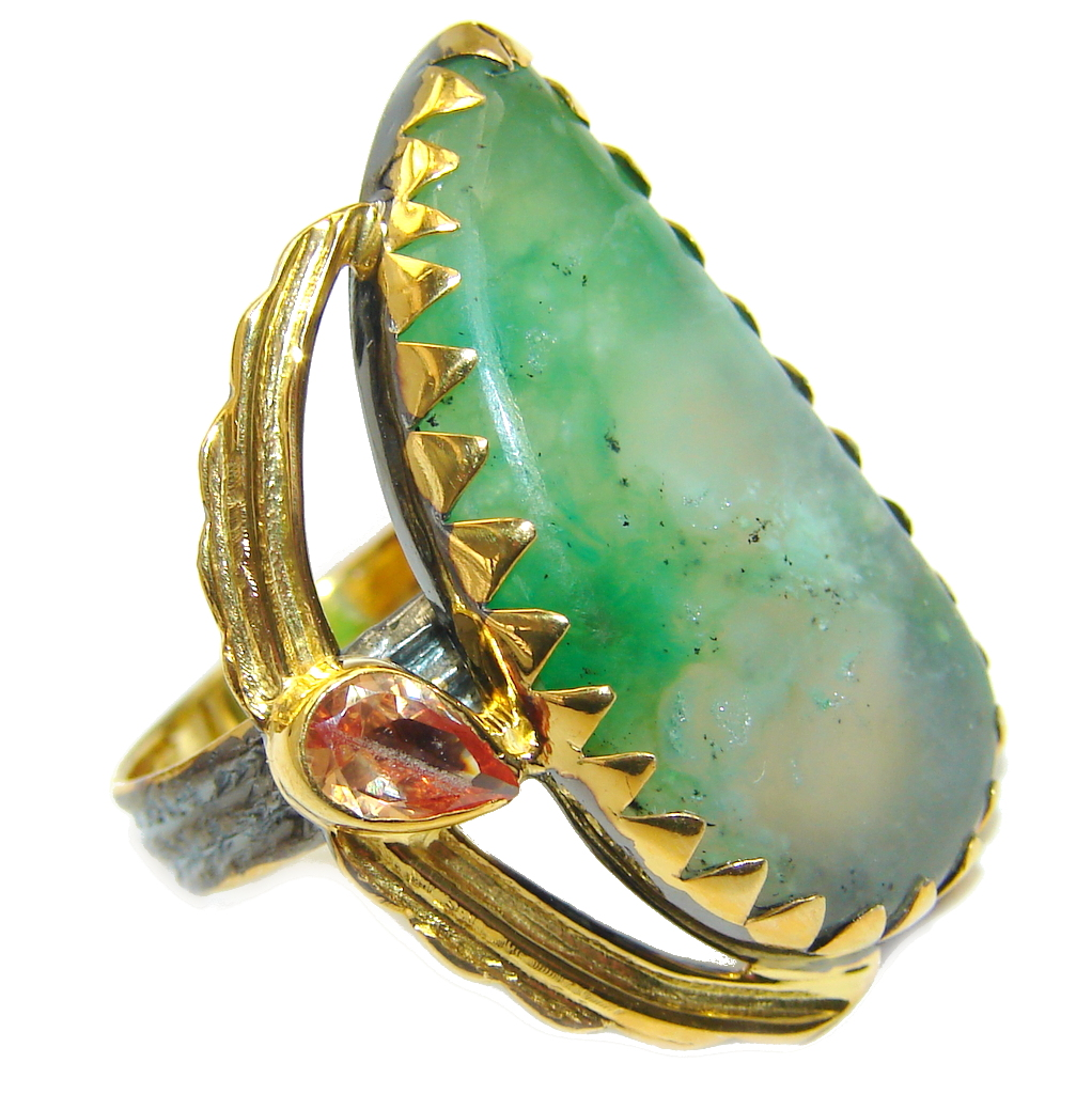 Always Together Blue Larimar Chrysophrase Gold Rhodium plated over Sterling Silver Ring s. 7