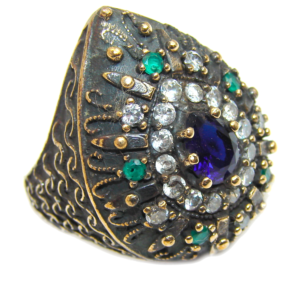 Victorian Style Created Blue Sapphire & White topaz Sterling Silver Ring s. 7