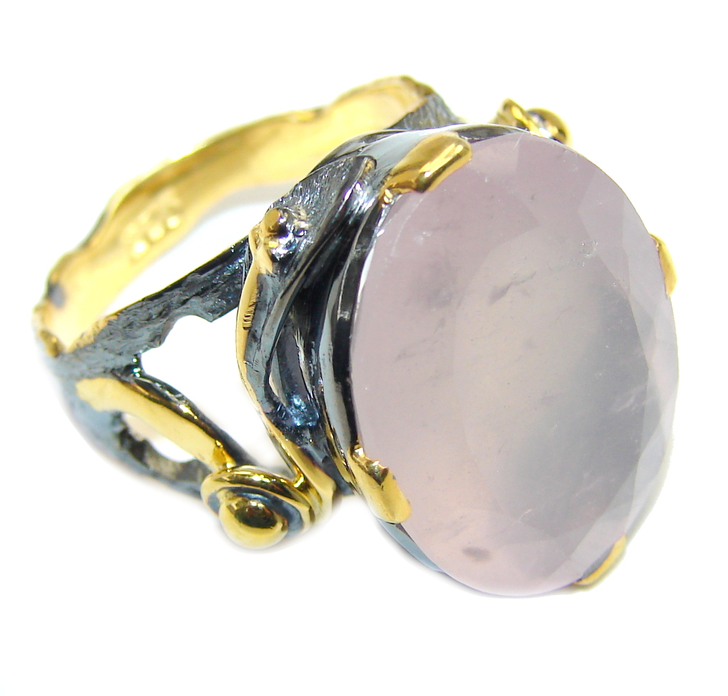 Amazing Rose Quartz Gols Rghodium plated over Sterling Silver ring s. 8 1/4