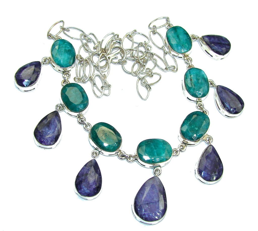Breath Of Love   Emerald & Sapphire Sterling Silver necklace