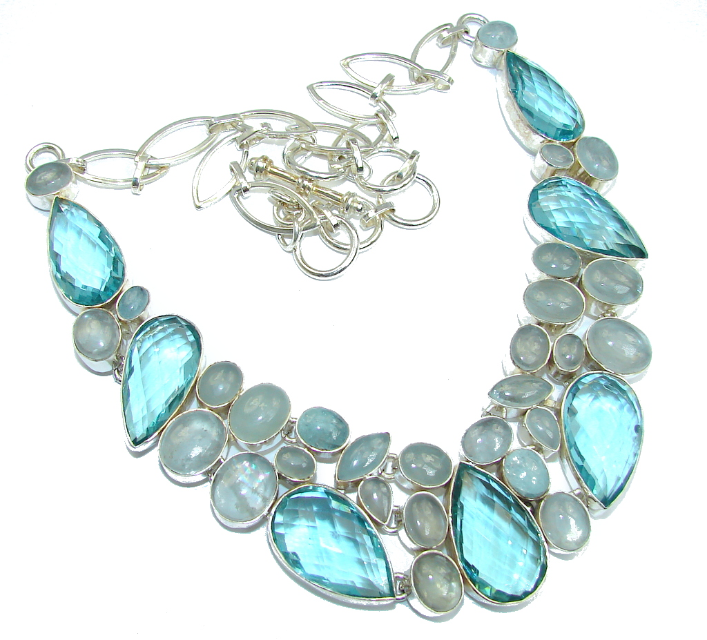 Huge Caribbean Blue Quartz & Aquamarine Sterling Silver necklace