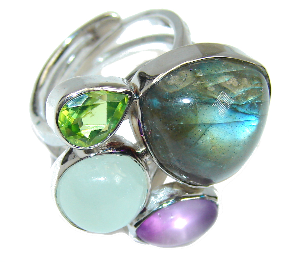 Blue Aura AAA Fire Labradorite  Sterling Silver ring size adjustable