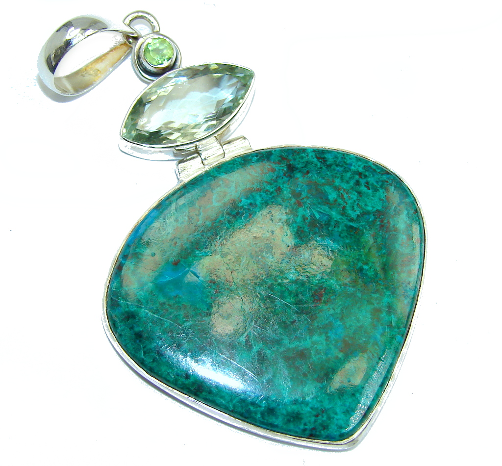 Big Stone Of Harmony Green Chrysocolla Sterling Silver Pendant