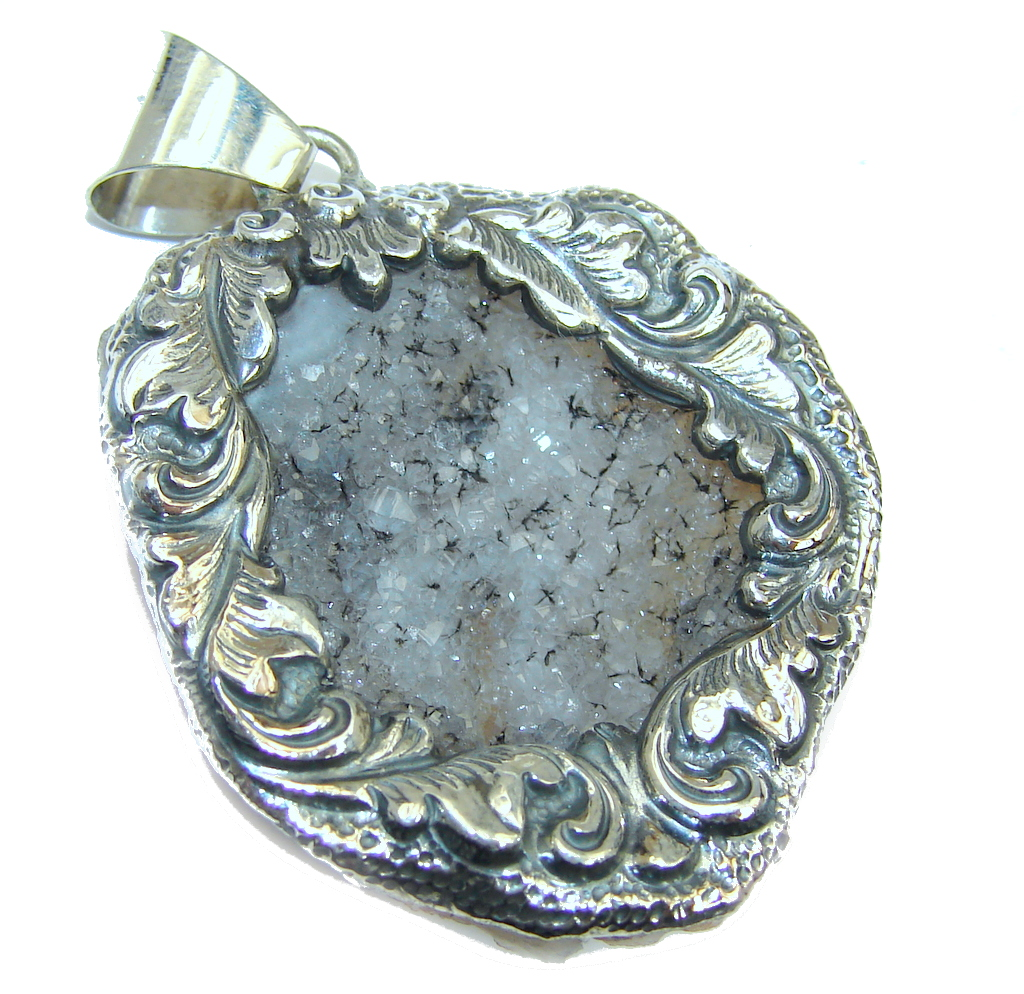 Carved Flower Rough Druzy Citrine Sterling Silver Pendant