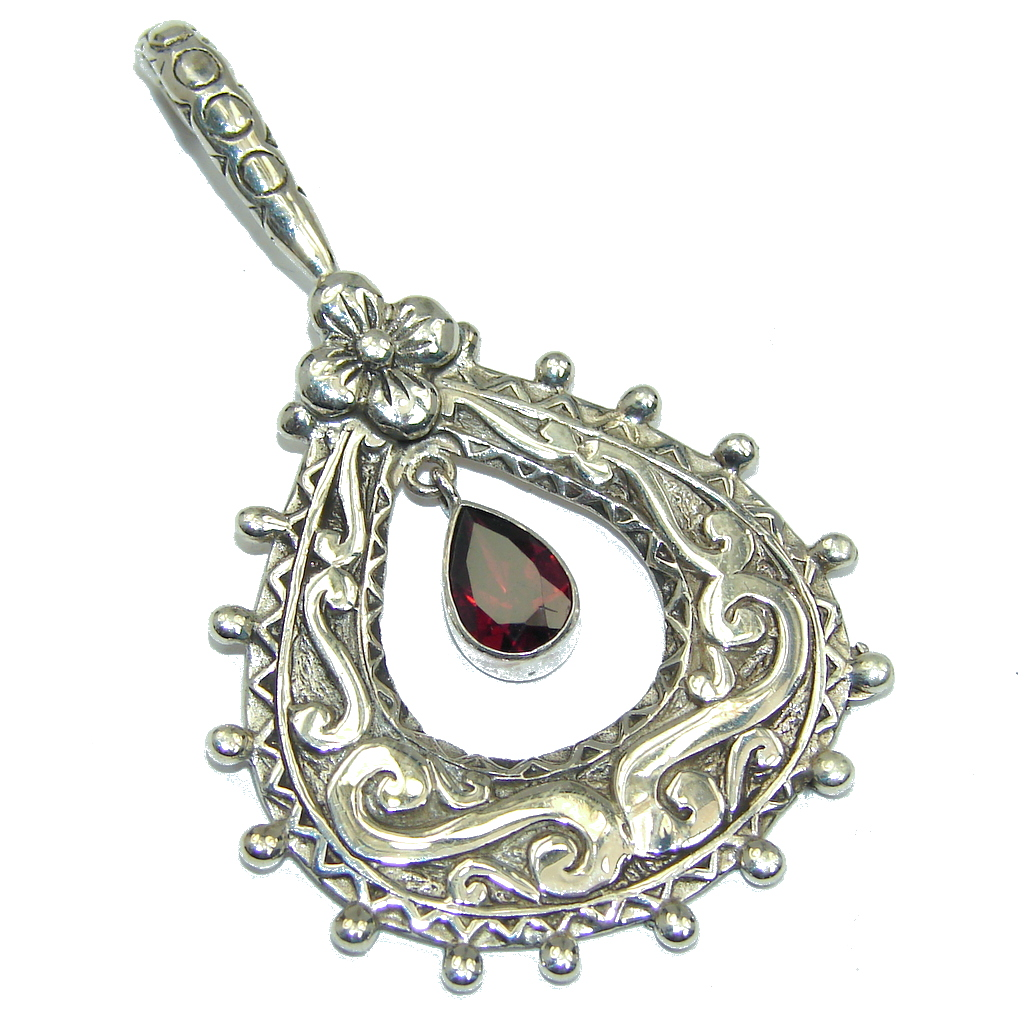 Amazing - Bali Handcrafted - Red Garnet Sterling Silver Pendant