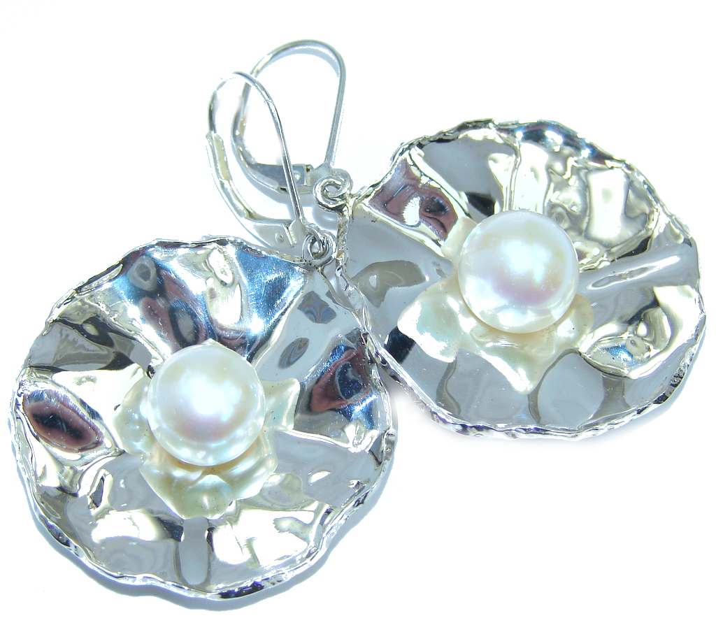 Big Fresh Water Pearl Hammered Sterling Silver earrings