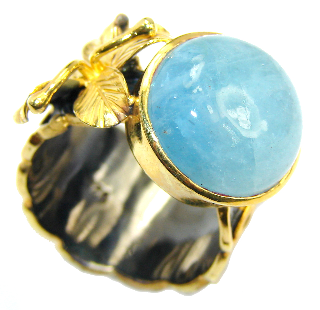 Passiom Fruit Aquamarine Gold Rhodium Plated Sterling Silver Ring s. 7 110466