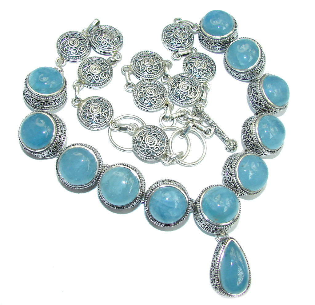 Huge Vintage Style Caribbean Blue Aquamarine Sterling Silver hand made necklace