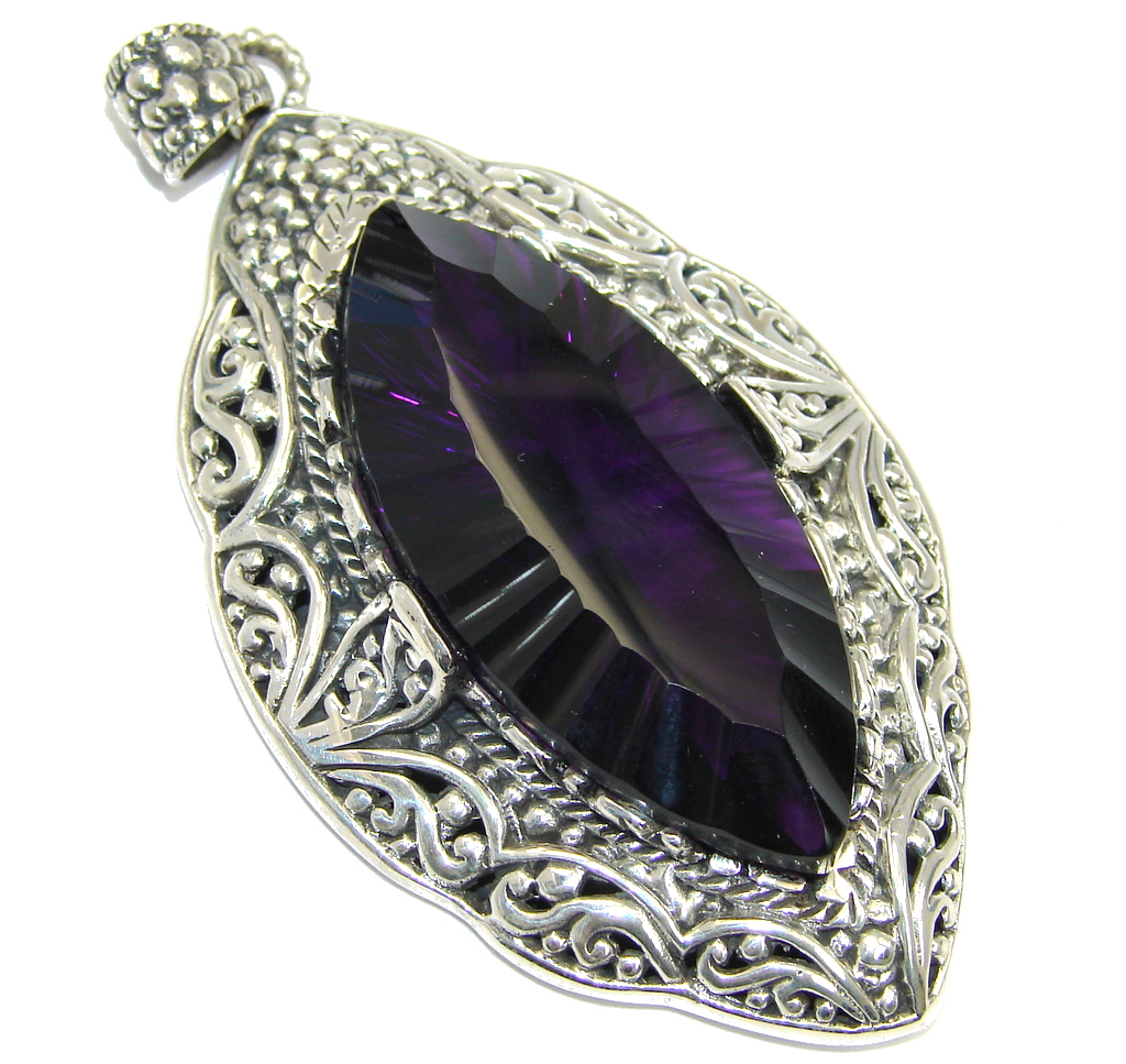Large Posh created Alexandrite Sterling Silver indonesian made Pendant