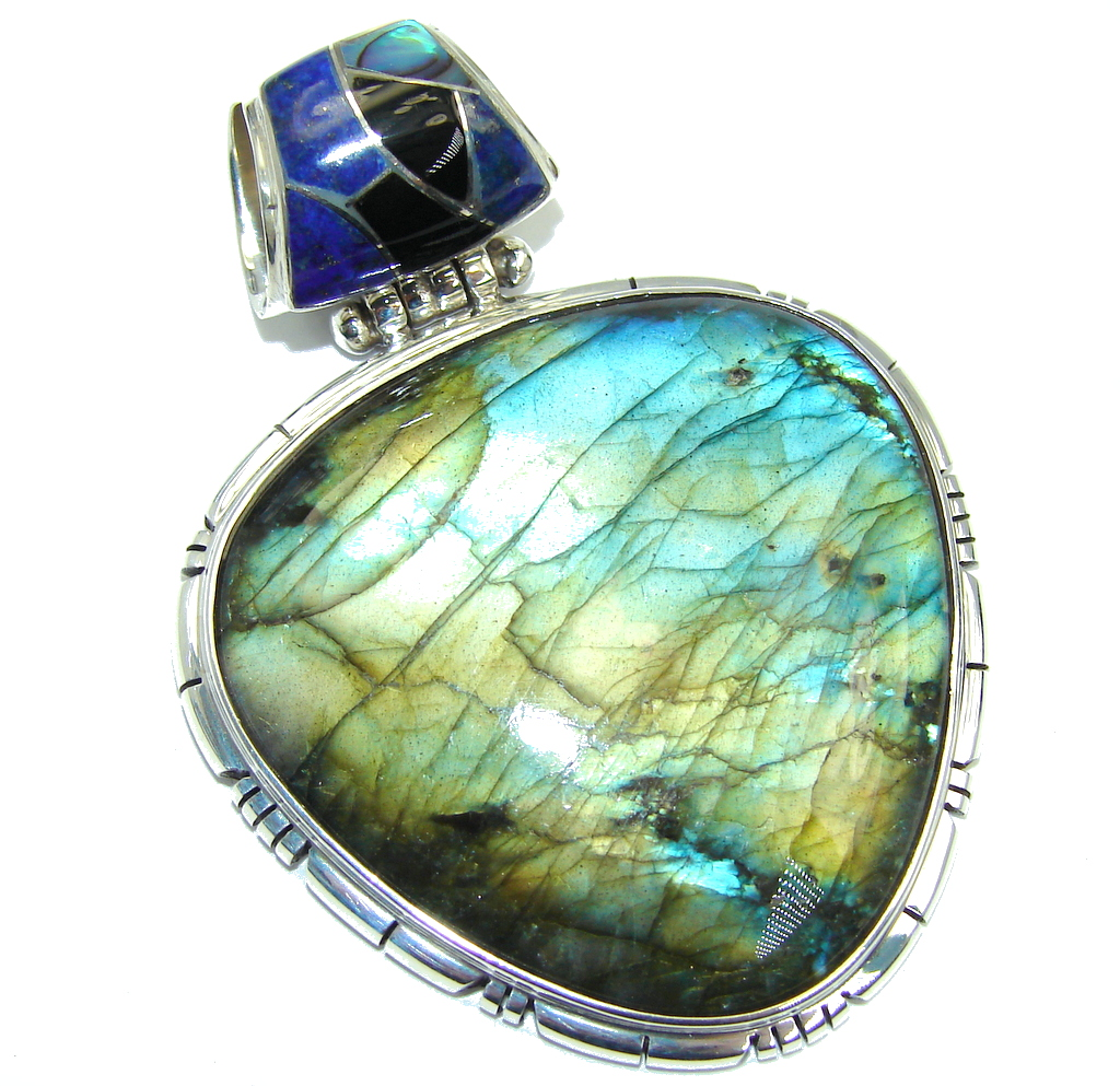 Giant Perfect AAA Blue Fire Labradorite Sterling Silver Pendant