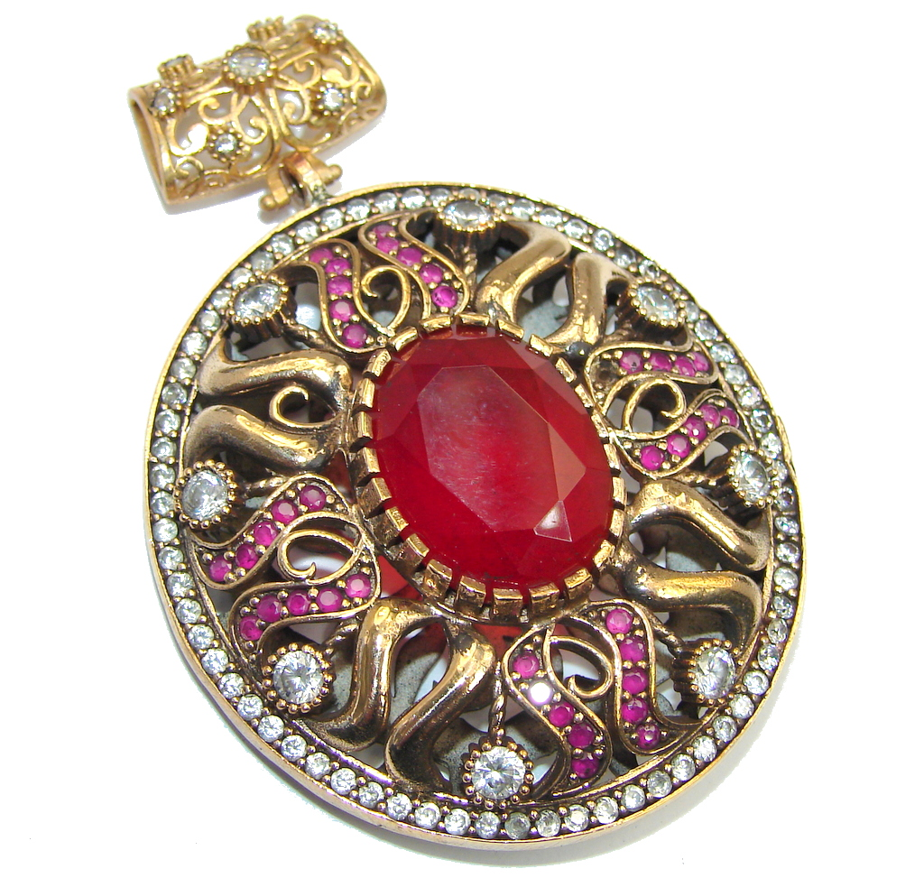 Victorian Style created Ruby & White Topaz copper plated over Sterling Silver Pendant