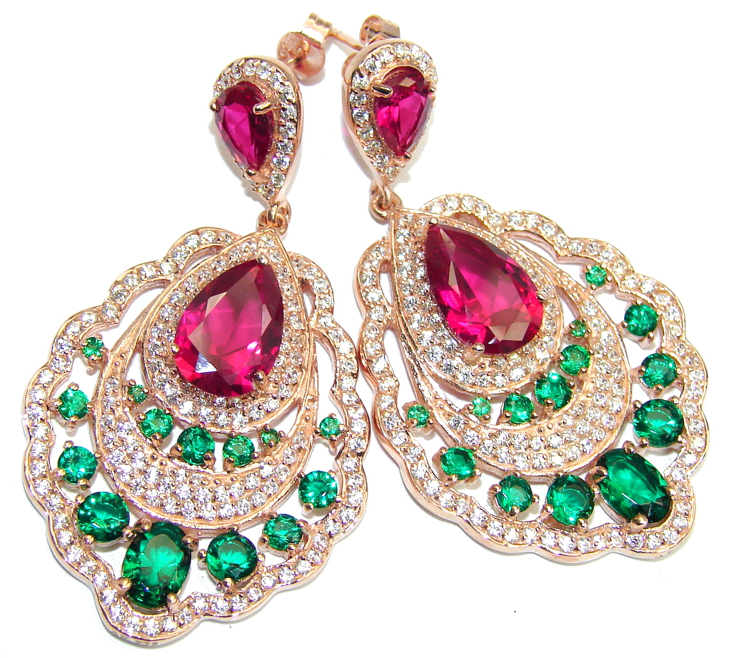 Great Victorian Style Ruby Emerald Rose Gold plated over Sterling Silver earrings