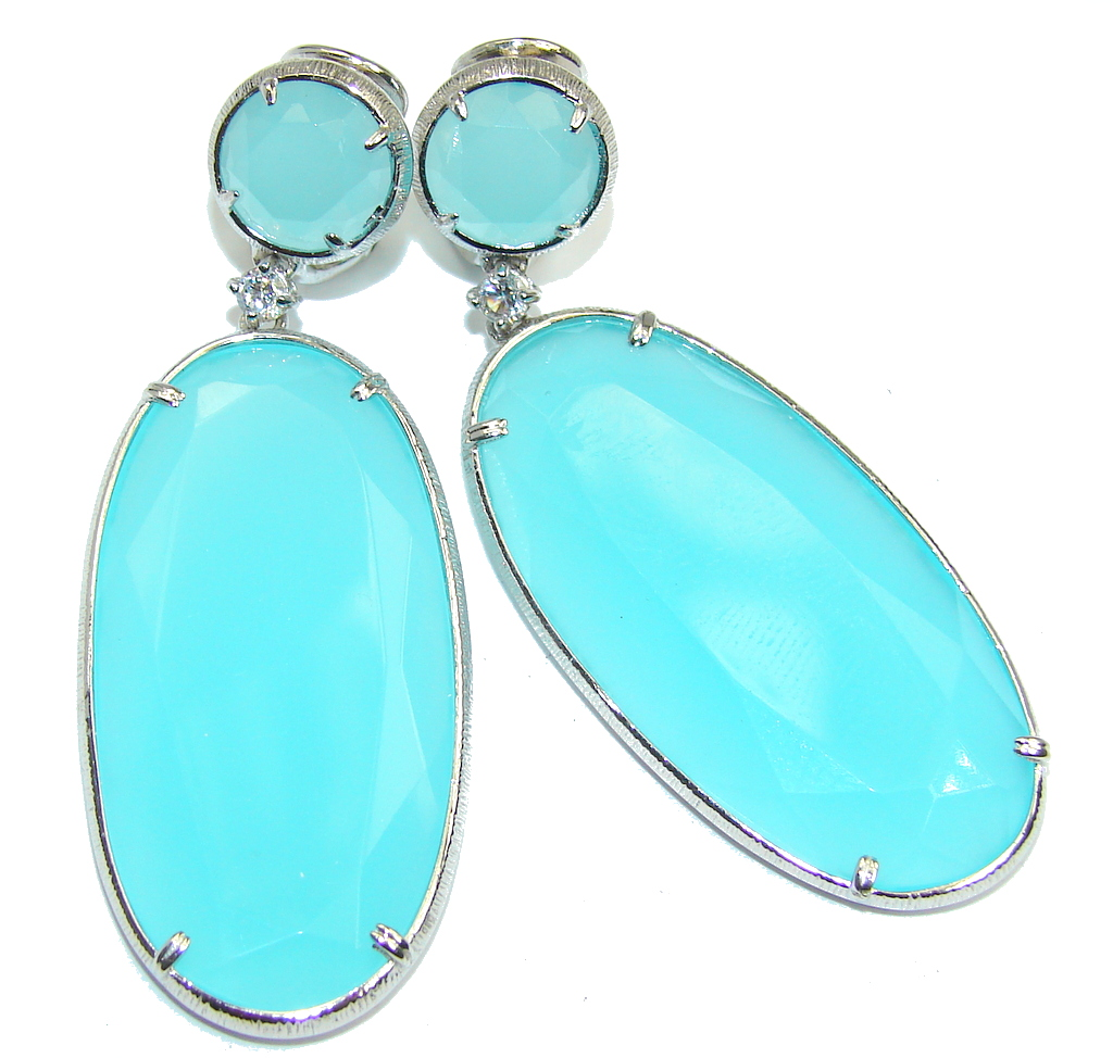 Large! Stunning Light Blue Aquamarine & White Topaz Sterling Silver Earrings