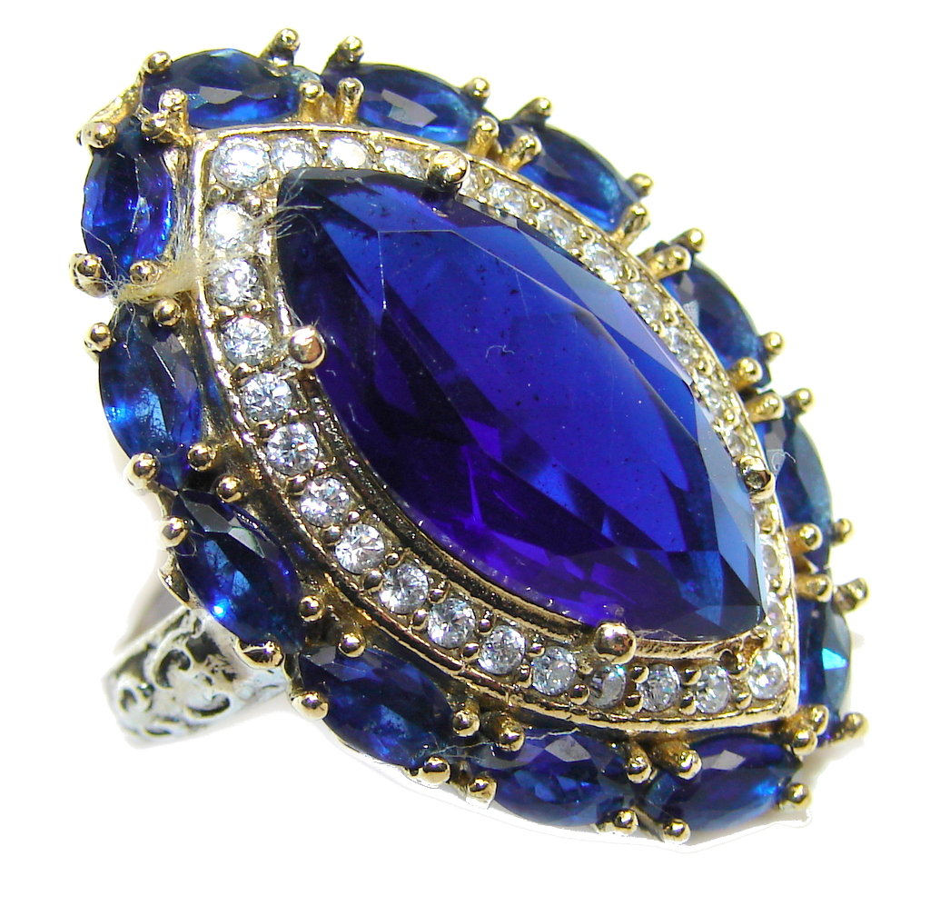 Victorian Style Created Blue Sapphire & White topaz Sterling Silver Ring s. 8 1/4