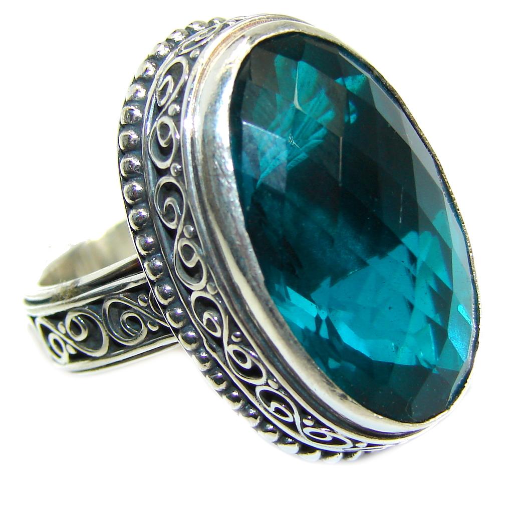 Precious Emerald Color Quartz Sterling Silver Ring s. 8