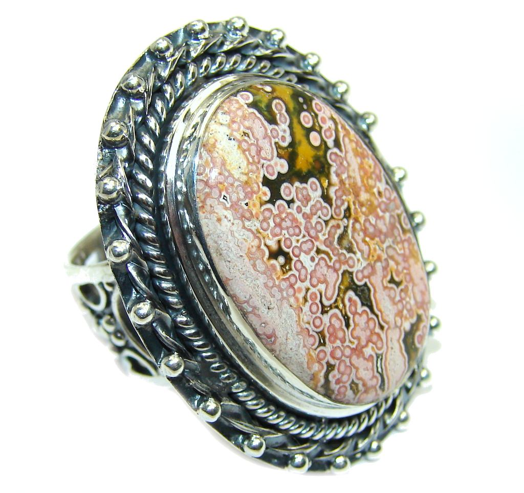 Amazing AAA  Ocean Jasper  Sterling Silver Ring size adjustable