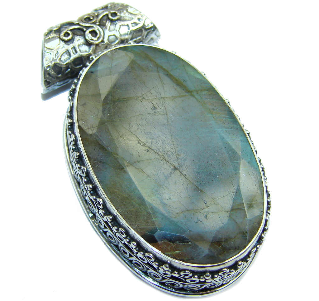 Giant Perfect AAA Blue Fire Labradorite Sterling Silver handmade Pendant