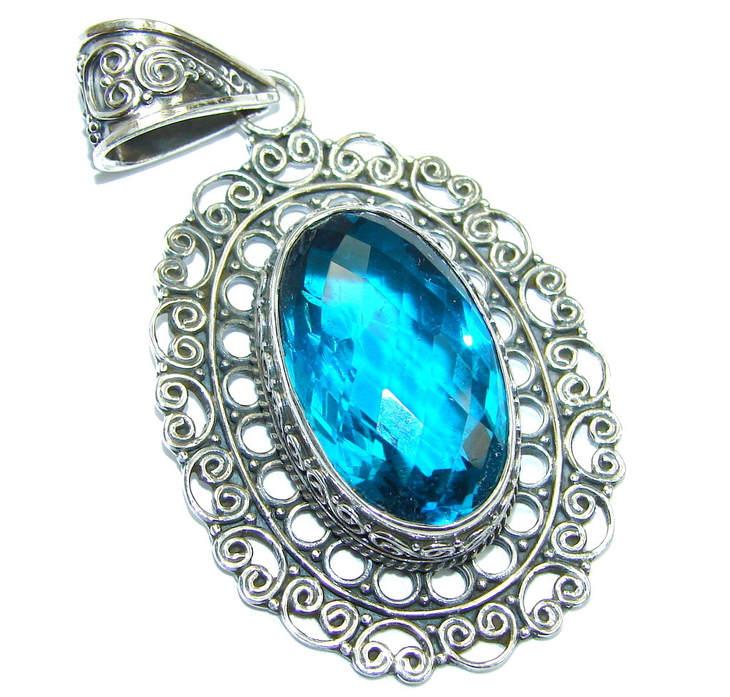 Amazing created Blue Topaz Sterling Silver Pendant