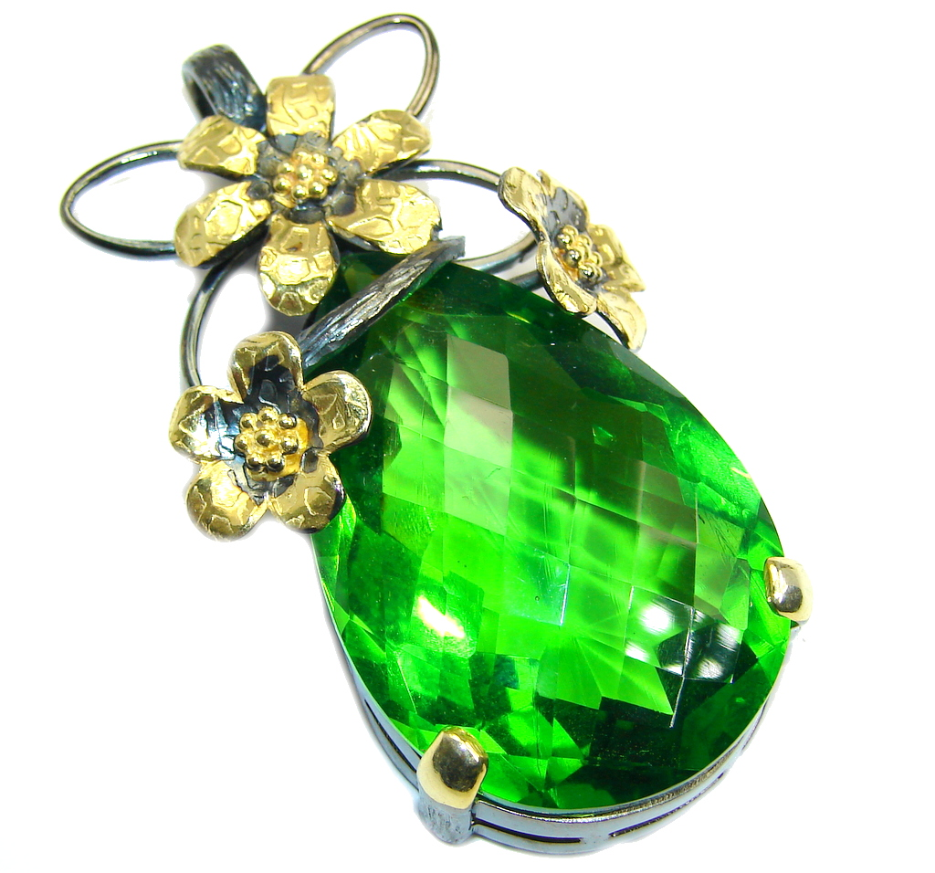 Large created Green Peridot Gold Rhodiul plated over Sterling Silver Pendant