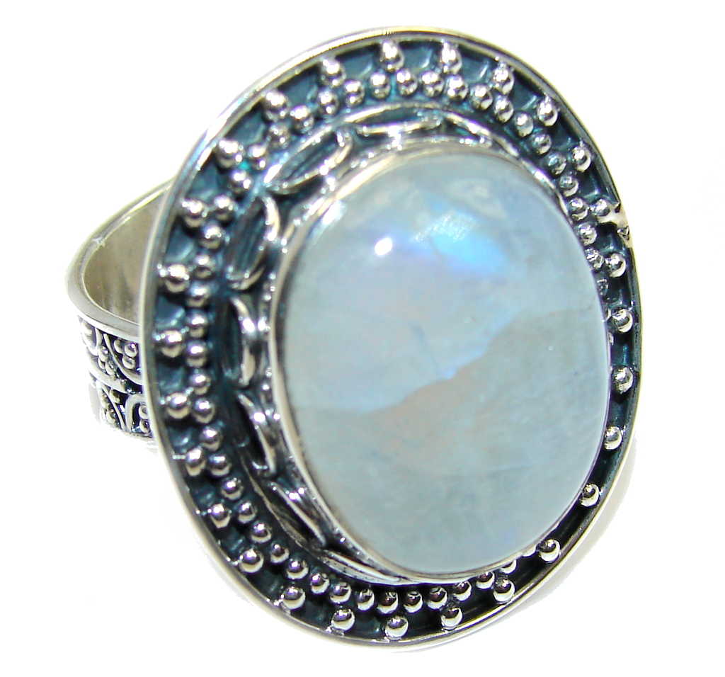 Fire Moonstone Sterling Silver ring size adjustable