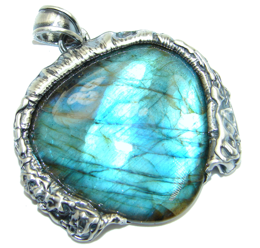 Giant AAA Blue Fire Labradorite Sterling Silver handmade Pendant