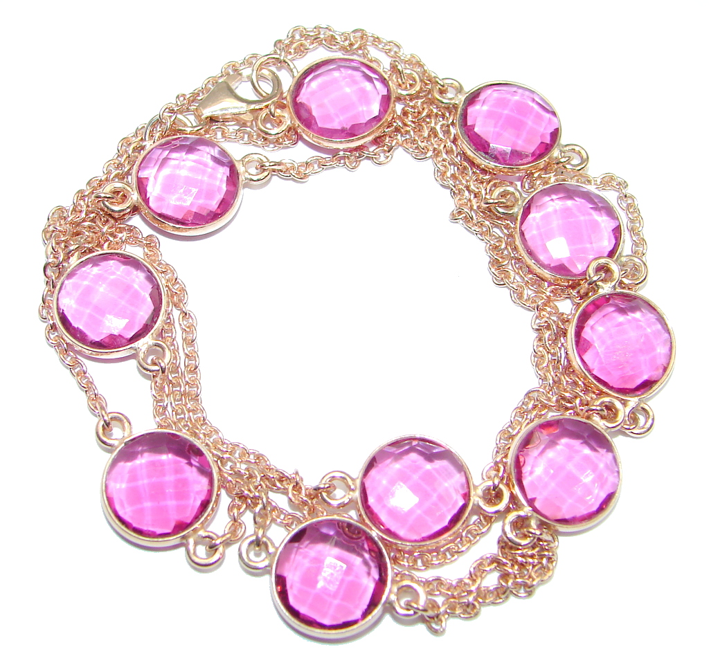 36 inches created Pink Sapphire Rose Gold over Sterling Silver Necklace