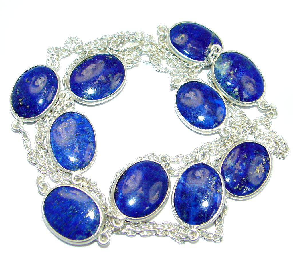 36 inches Genuine Lapis Lazuli Sterling Silver Necklace