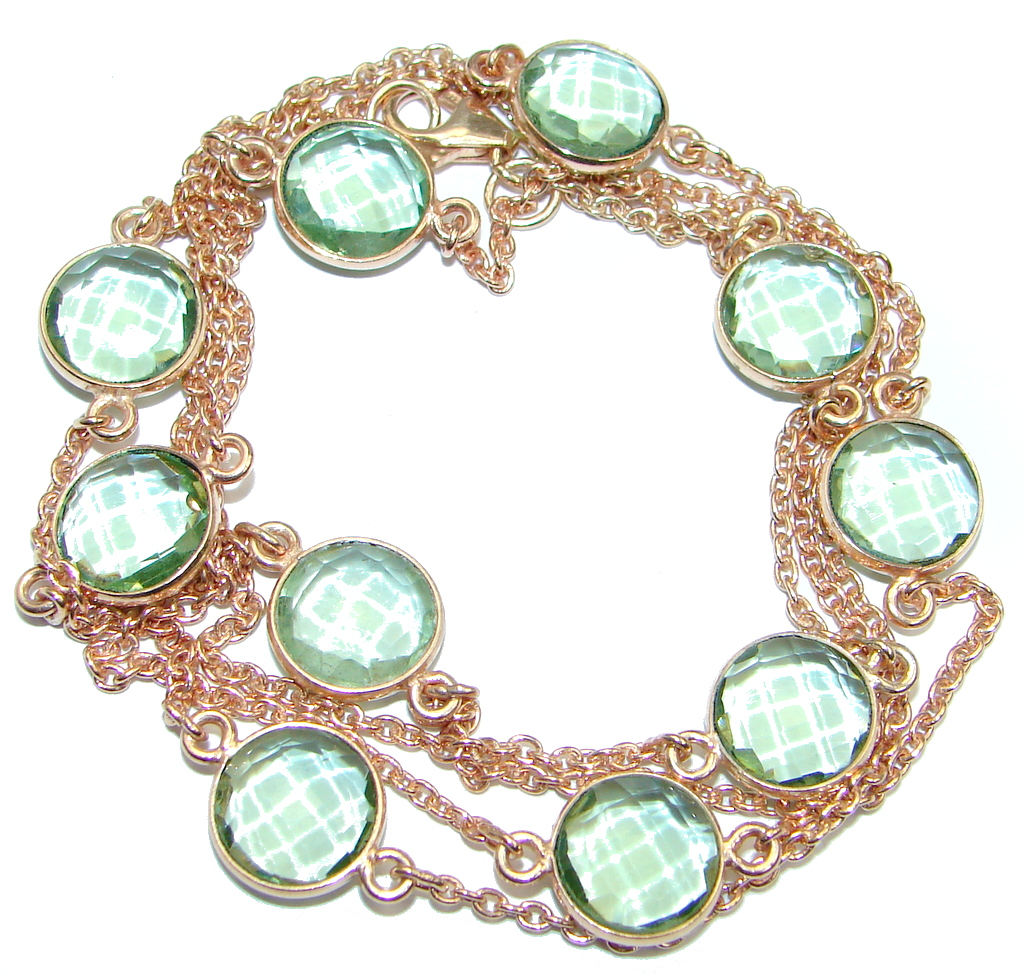 36 inches created Green Amethyst Rose Gold over Sterling Silver Necklace