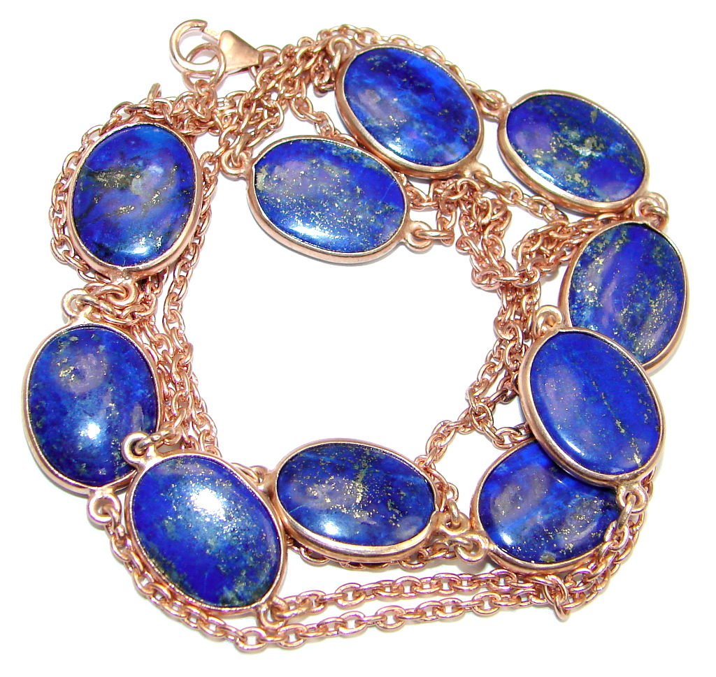 36 inches Genuine Lapis Lazuli Rose Gold over Sterling Silver Necklace
