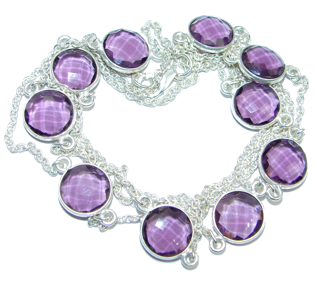 36 inches created Amethyst Sterling Silver Necklace