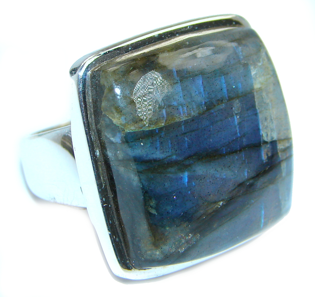 Blue Aura AAA Fire Labradorite Sterling Silver ring size 8