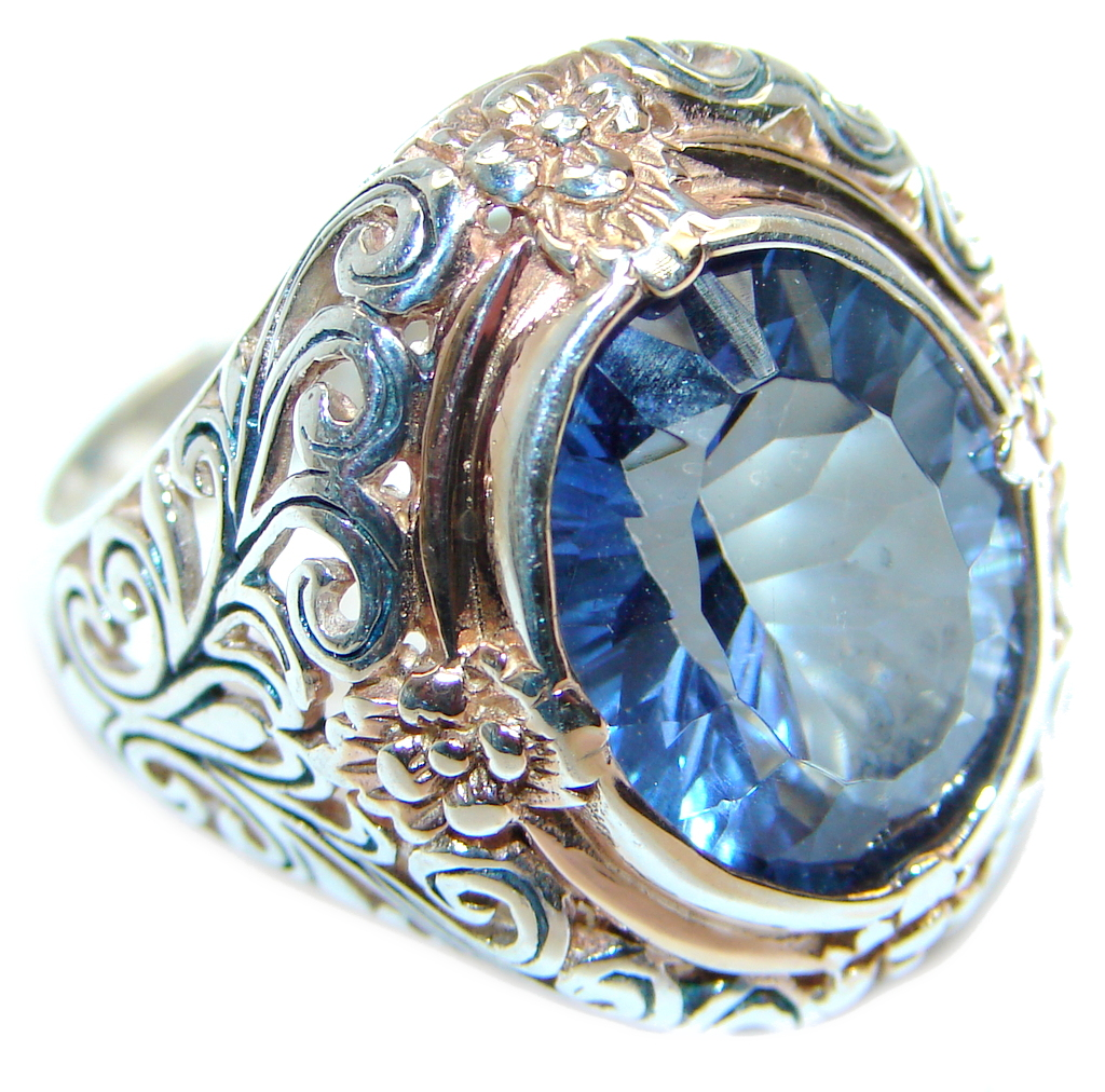 created Tanzanite Rose Gold plated Sterling Silver Ring s. 8