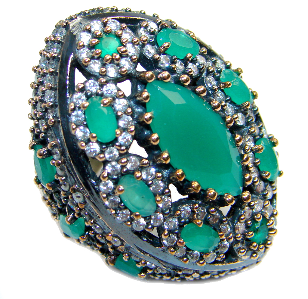Victorian Style created Emerald & White Topaz Copper over Sterling Silver ring; s. 8 1/4